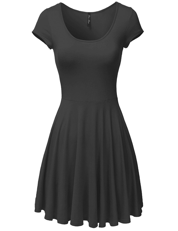 Luna Flower Women's Short Sleeve Midi Length Slim Waist Simple Dresses *** If you love this, read review now : black dress