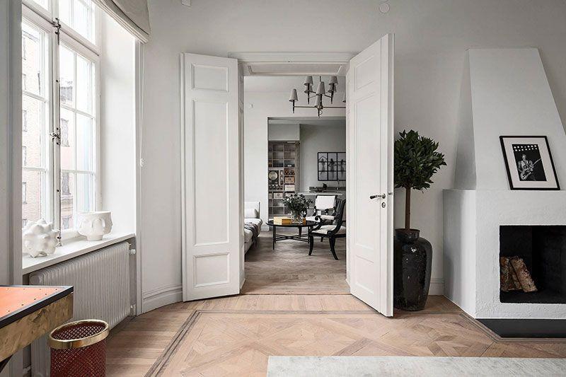Modern Scandinavian Apartment With Elegant Classic Touches In Stockholm Scandinavian Apartment One Bedroom Apartment Beautiful Interiors