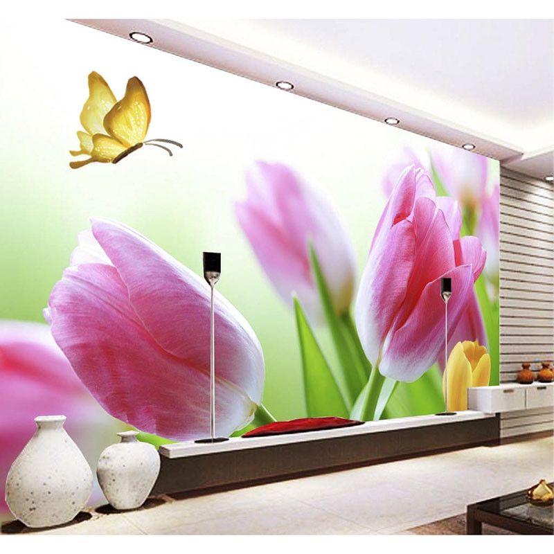 Pas cher 3D Personnalisé Photo DIY Papier Peint Belle Fleurs Papier