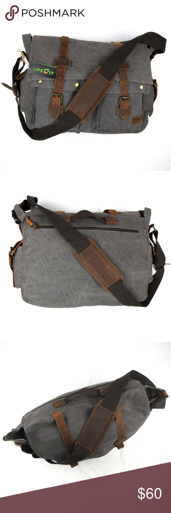 Lifewit Men s Messenger Bag Vintage Canvas Leather Lifewit Men s Messenger  Bag Vintage Canvas Leather Military Shoulder 31c0044de4e66