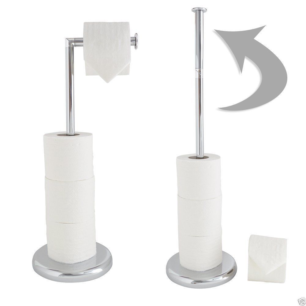 Chrome Steel Toilet Roll Holder Swivel Action Extra Storage Free Standing