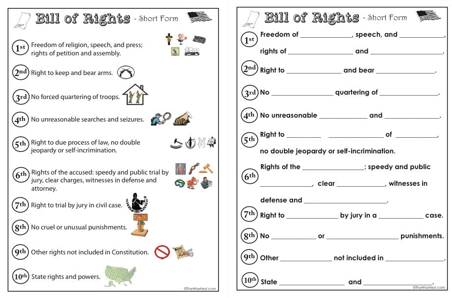 bill of rights worksheets for kids - Termolak