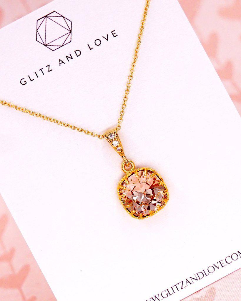 Gold Light Silk Crystal Jewelry Set Swarovski Crystal Cushion Cut