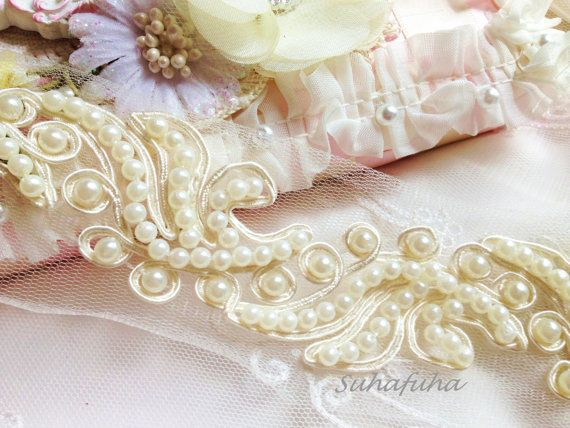 Ivory Beaded Bridal Cord Trim for Gowns, Sashes, Veil, Millinery, Headbands, Embellishment