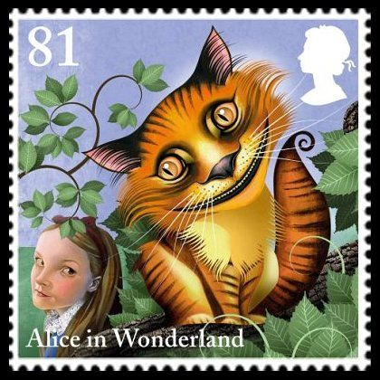 """""""The Cheshire Cat"""" - 81p postage stamp (UK, 2015) from the """"Alice in Wonderland"""" series by award-winning illustrator Grahame Baker-Smith, issued to celebrate the 150th anniversary of the publication of Lewis Carroll's classic children's tale"""