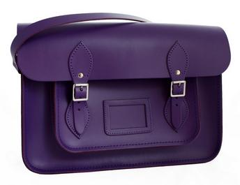 'Carnaby' Preppy Purple Leather Satchel £70