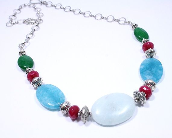 Colourful Gemstone Necklace  Beaded Necklace  by BigSkiesJewellery