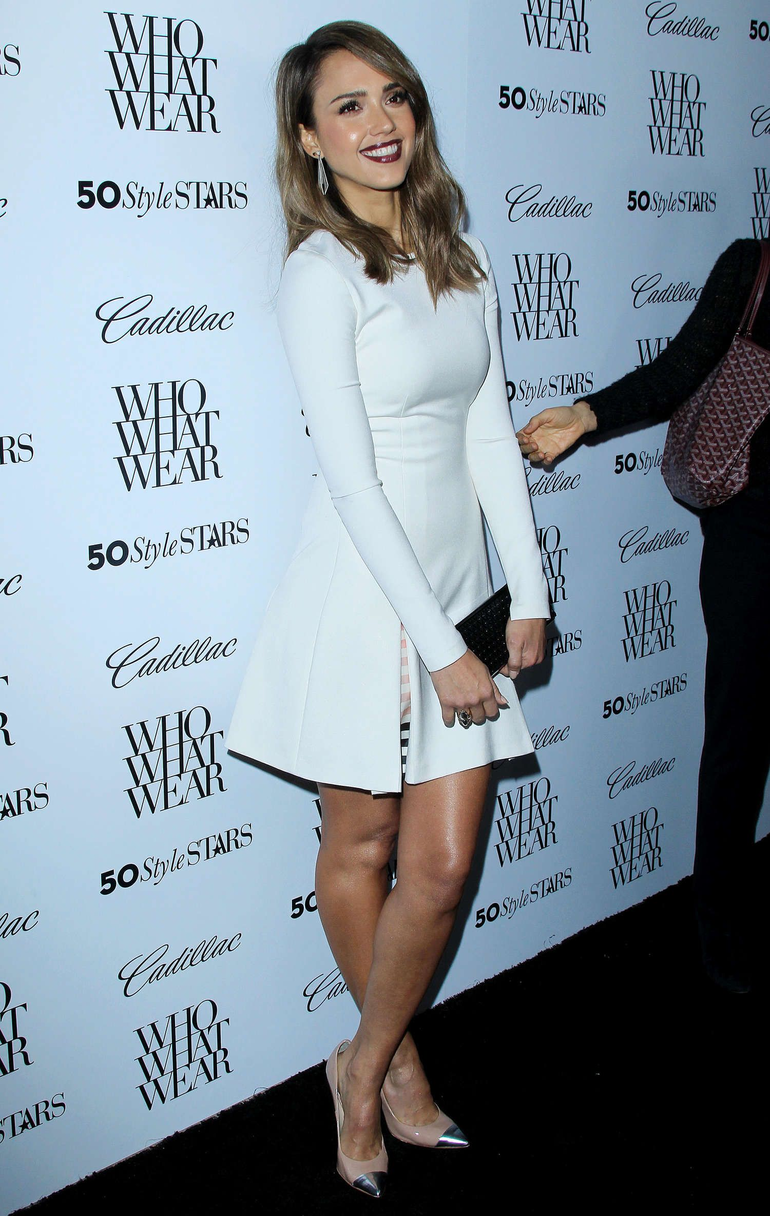 Jessica Alba in White Dress at 50 Most Fashionable Women Of 2013 Event