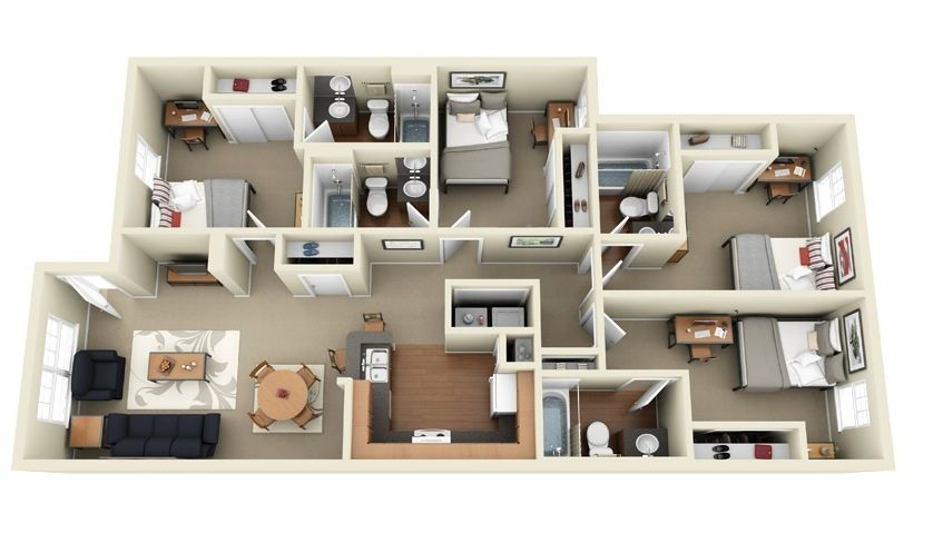 "50 Four ""4"" Bedroom Apartment/House Plans (With images"