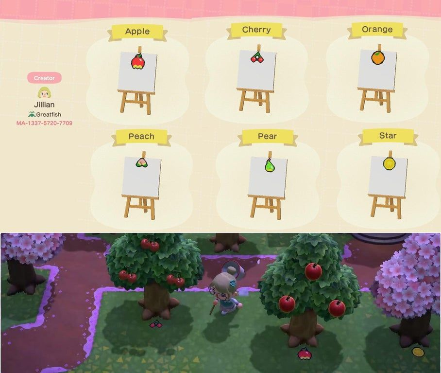 I Ve Seen A Lot Of Fruit Tree Markers But They Were All So Big Here Are Some Small Ones I Made Acqr Animal Crossing Animal Crossing Game Animal Crossing Qr