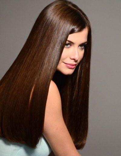 fotos de cabelos castanhos liso