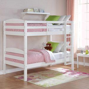 Better Homes Gardens Leighton Wood Twin Over Twin Bunk Bed Cherry Walmart Com Wood Bunk Beds Bunk Beds Twin Bunk Beds