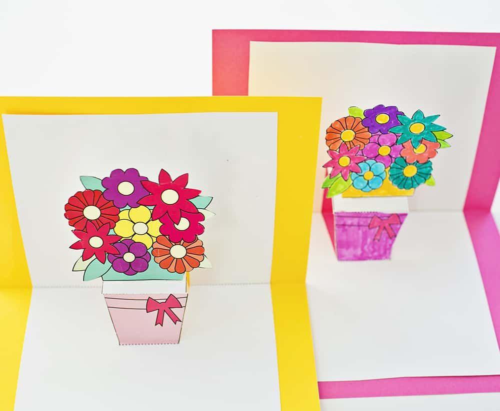 pop up flower card template