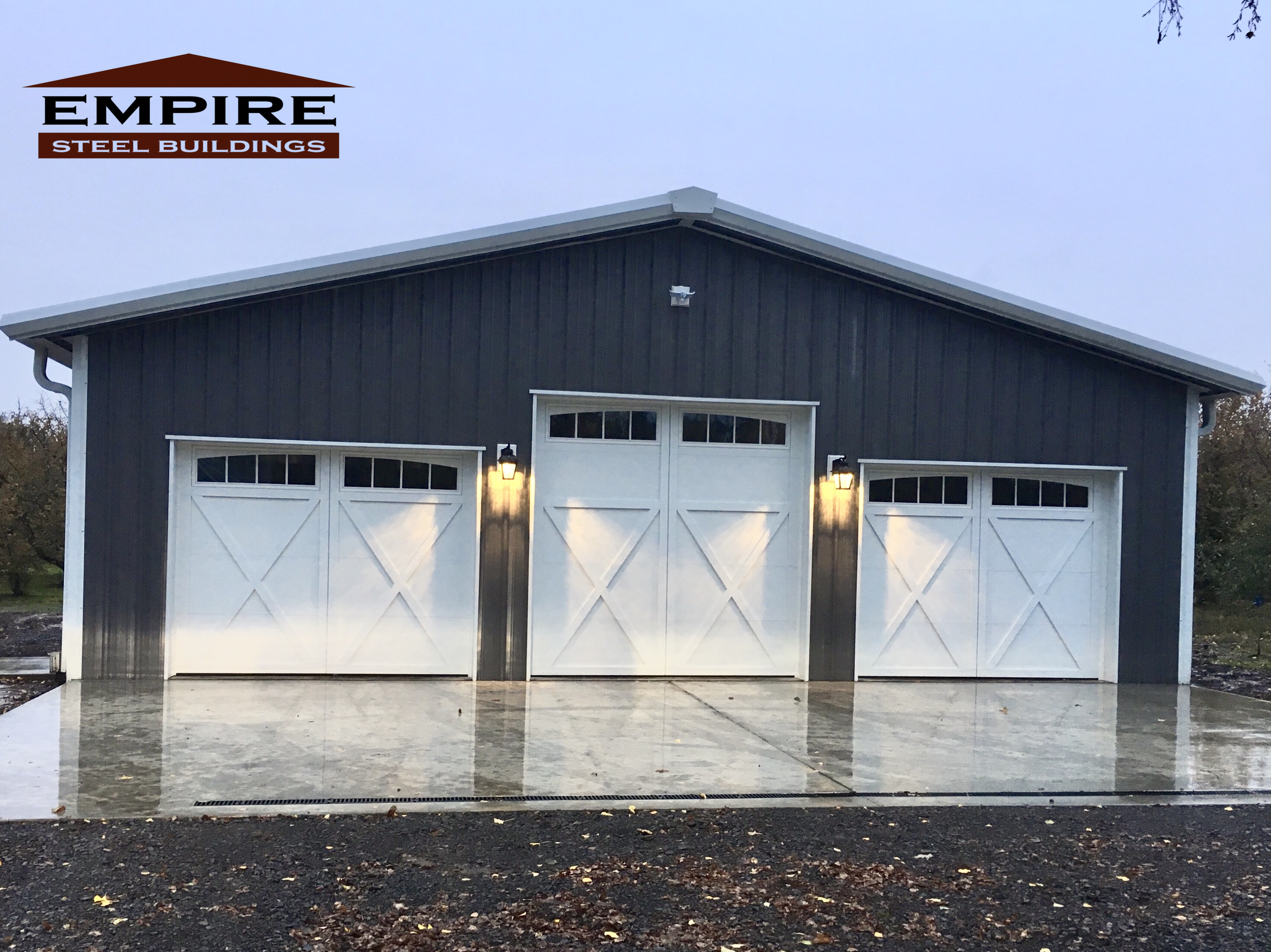 Awesome Steel Building Garage We Provided In Oregon For A Customer They Provided The Custom Door Garage Door Design Metal Garage Buildings Metal Shop Building