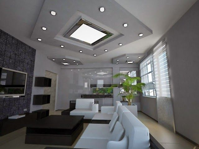 Modern Living Room Ceiling Lights: Recessed Spotlights As Ceiling Decor