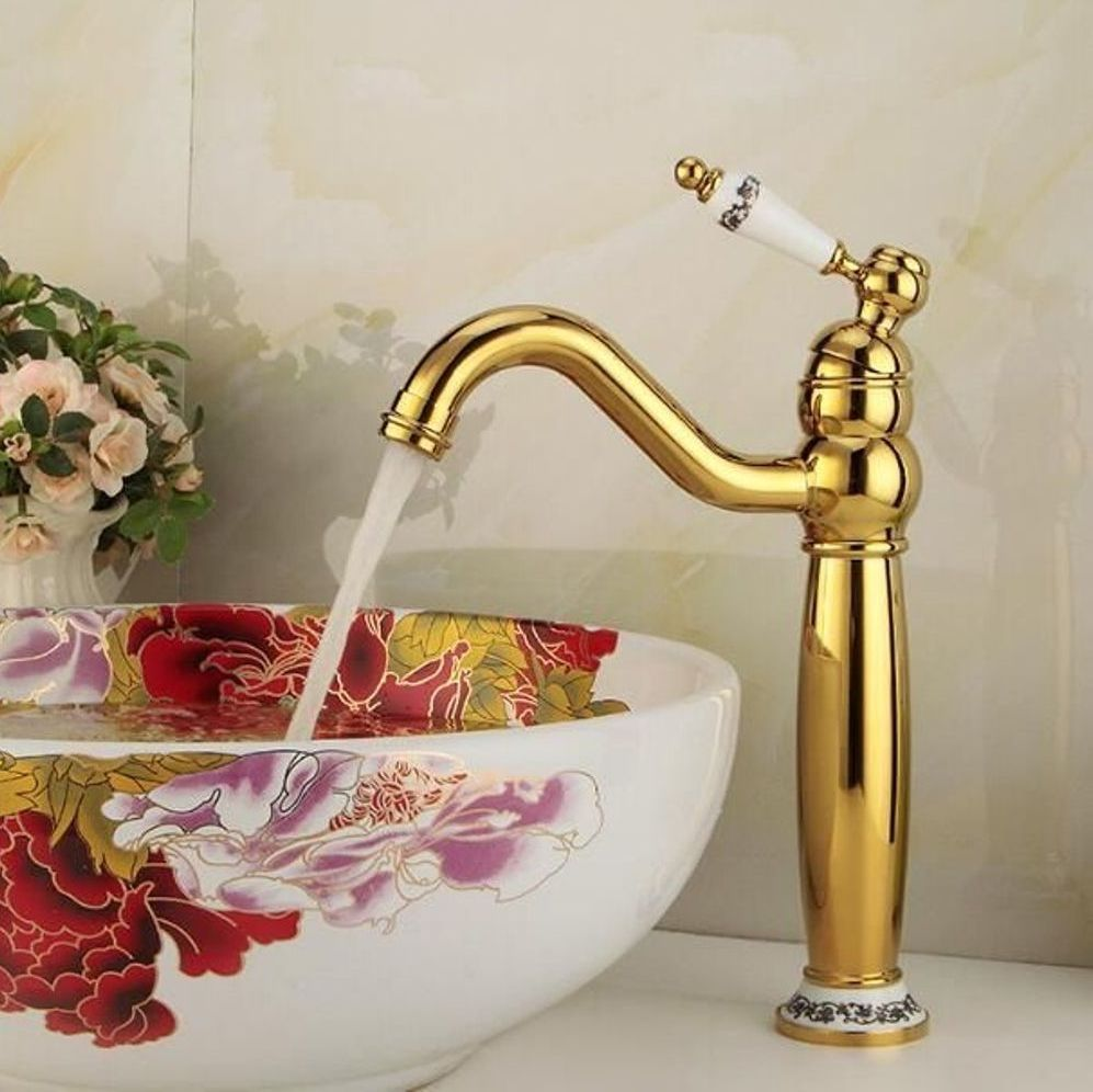 Antique Gold Sink Faucet With Beige Textured Wall Color With Nice Gold Bathroom Faucet Bathroom Faucets Sink