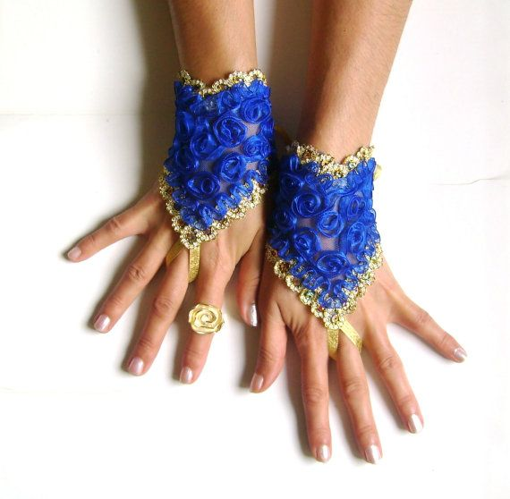 Neon blue gold lace gloves burlesque  cabaret belly by GlovesShop, $23.00