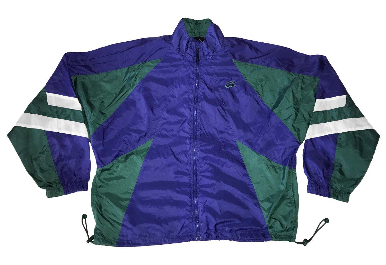 a55a5cc783ea4 Vintage 90s Nike Swoosh Windbreaker Tracksuit Top jacket Color Block ...