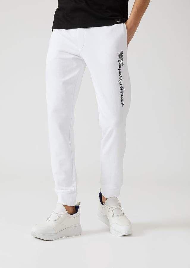 adbe9f6718 Emporio Armani Trousers In Stretch Cotton | Men's White Joggers in ...
