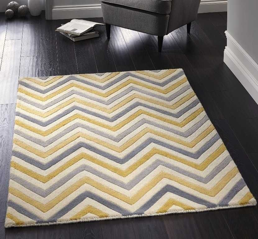 Cabone Yellow Grey Wool Rugs Modern