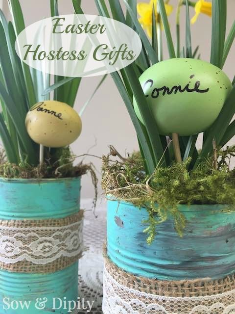 7 easy easter projects easter easter projects and planters tin can easter hostess gift planters for gift giving then they can plant into their choice of pot negle Images