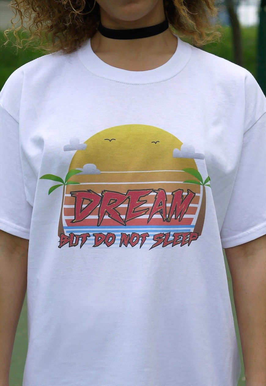8849806d7 90s Arcade Sunset Design On White Short Sleeved T-shirt | Dream But Do Not  Sleep | ASOS Marketplace