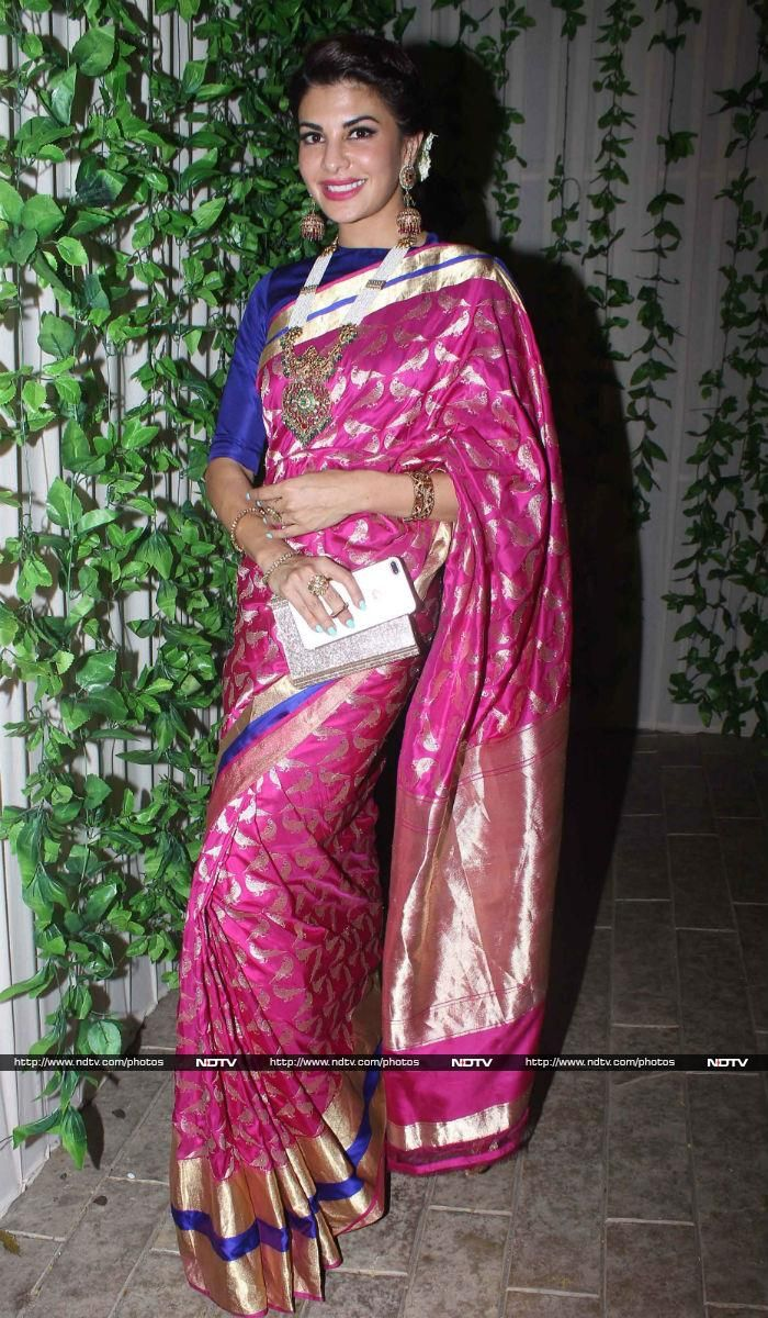 Jacqueline Fernandez was a vision in a traditional pink saree ...