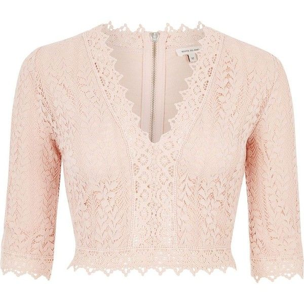 River Island Pink lace plunge crop top ($34) ❤ liked on Polyvore featuring tops, river island top and river island
