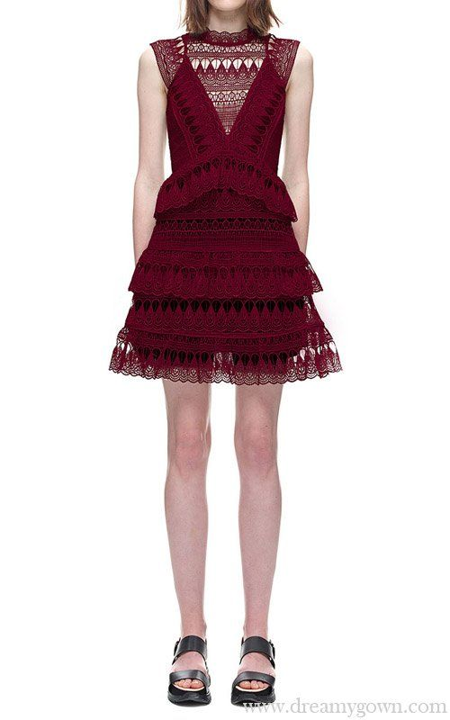 4092b2bb9bf43 Self Portrait Teardrop Guipure Panelled Mini Burgundy Dress | Self ...