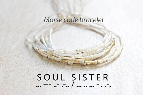 73cd56f1f33b2 Soul Sister Bracelet Friendship Bracelet Dainty Morse Code Jewelry ...