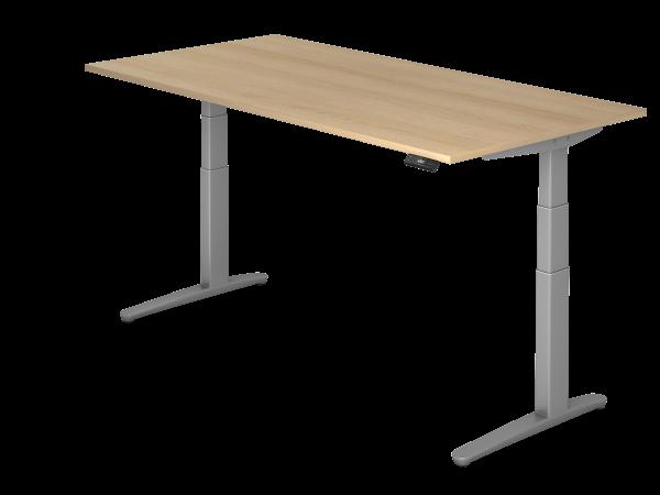 Sitz Steh Schreibtisch Elektrisch 200x100cm Eiche Silber