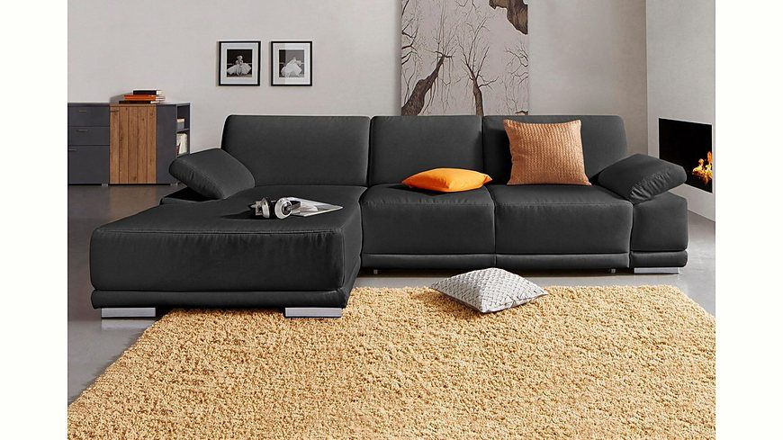 Sit  More Polsterecke mit XL-Recamiere, wahlweise mit Bettfunktion - Wohnzimmer Grau Orange