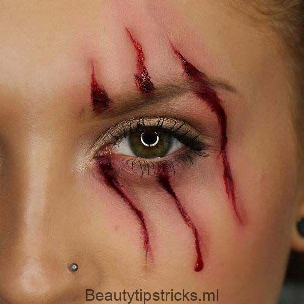 Scratch Mark Makeup für einfache Halloween Makeup-Ideen – Beauty Tips & Tricks