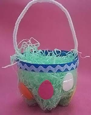 Basket made from the bottom of a soda bottle holiday theme soda bottle basket cut the bottom off of a 2 liter bottle decorate it and add a handle to make an easter basket negle Image collections