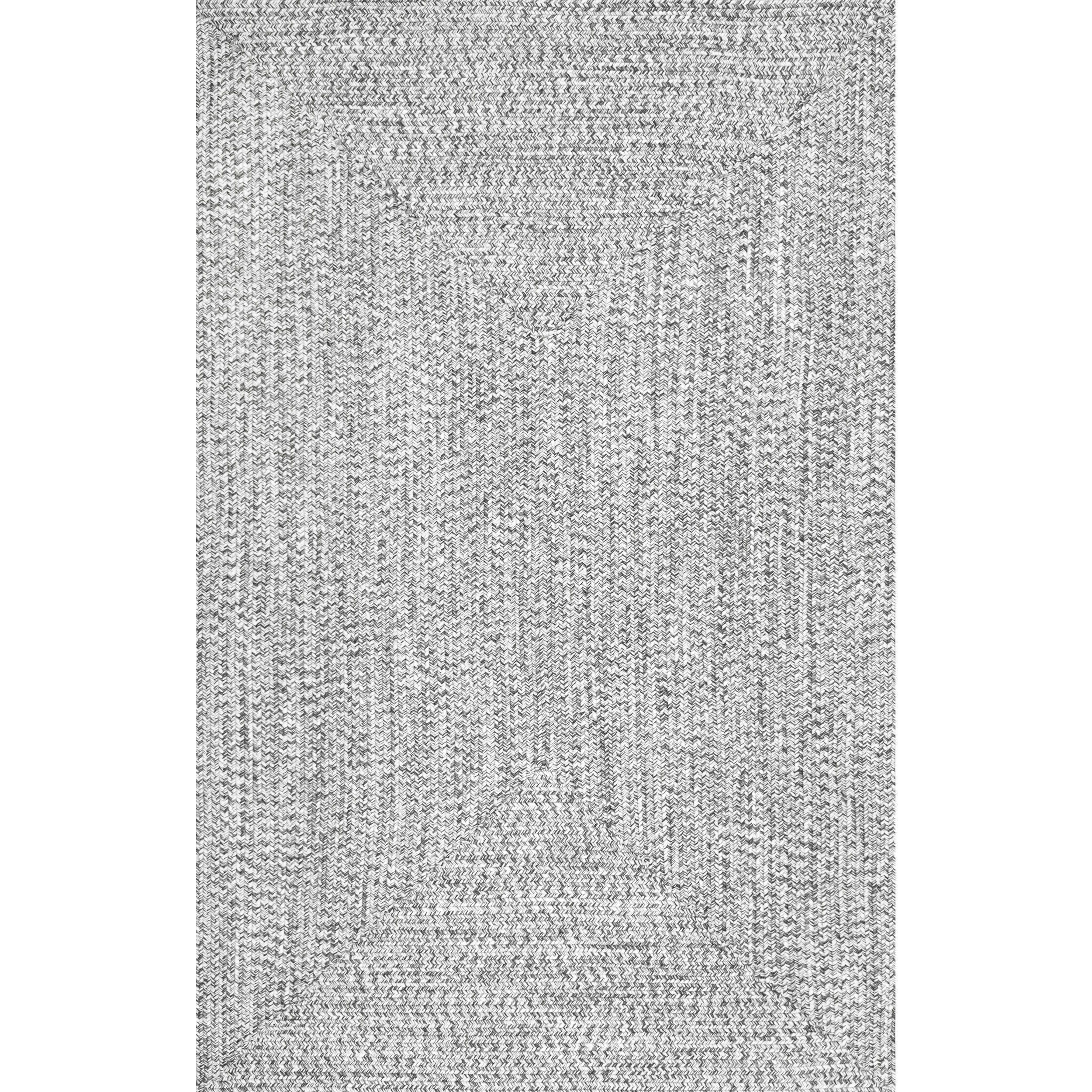 Nuloom handmade casual braided blue indoor outdoor rug 86 x 116 light grey polypropylene solid