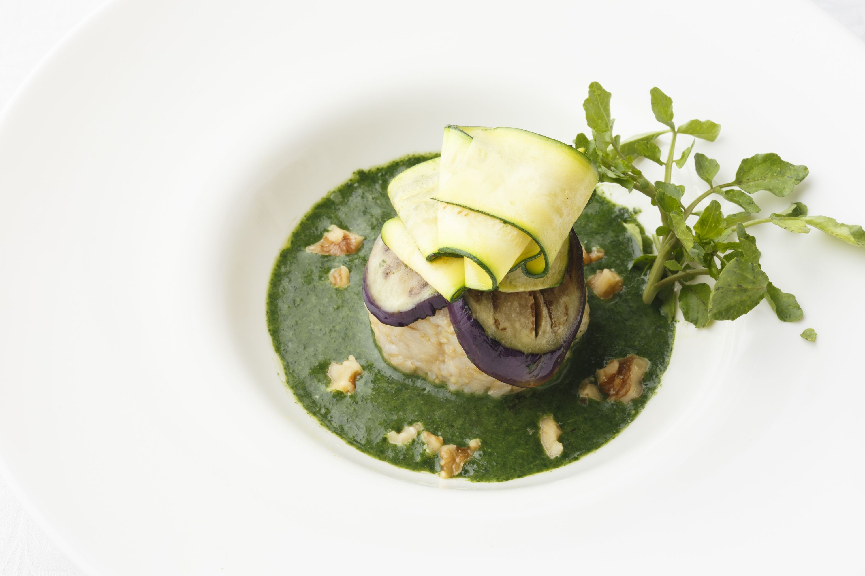 Brown rice on the beauty sauce made of Jew's mallow and bitter melon with grilled eggplants and zucchini