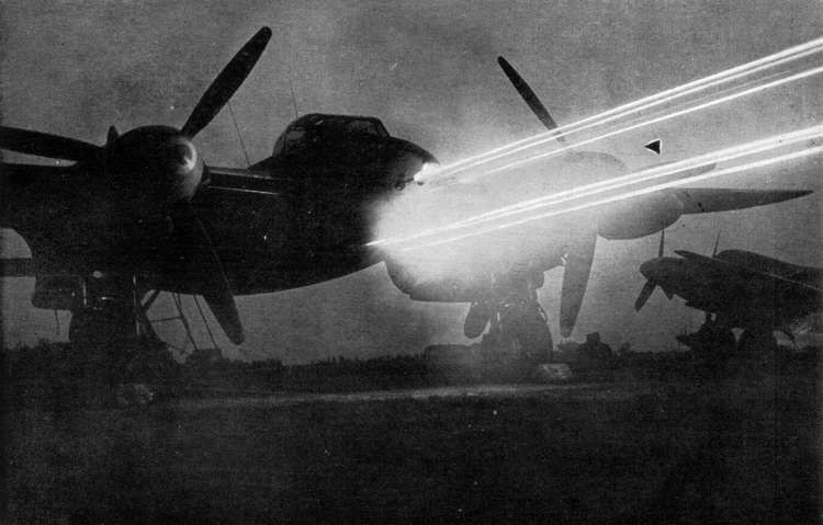 """titanium-rain: """" This dramatic picture shows all eight guns on a de Havilland Mosquito FB VI firing at the same time, giving a good idea of the impressive firepower concentrated in the nose of the..."""