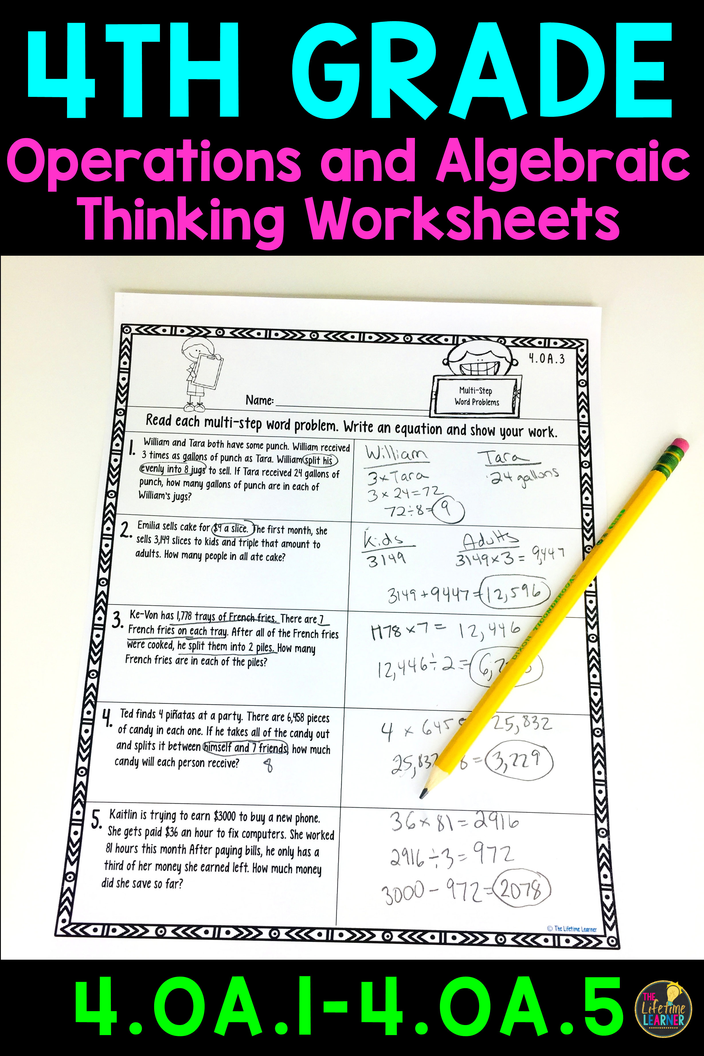 4th Grade Operations and Algebraic Thinking Worksheets | Word ...