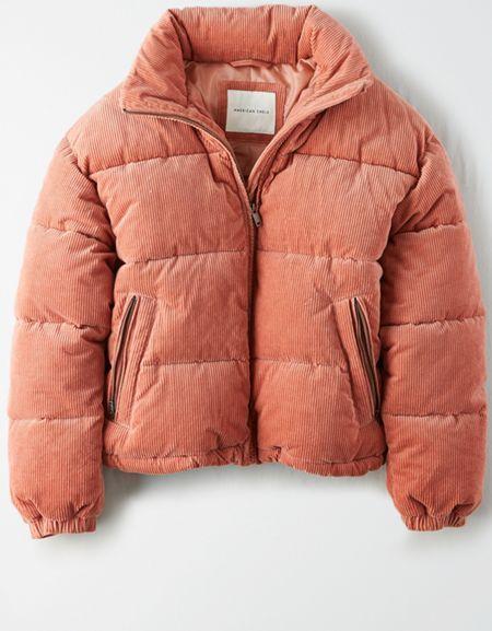AE Corduroy Puffer Jacket #corduroy Stay stylish and warm