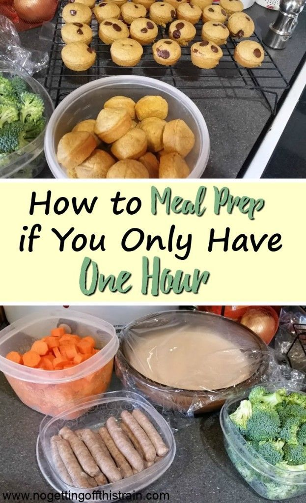 How to Meal Prep if You Only Have One Hour Do you struggle with finding time to meal prep? Here's a quick guide on how to meal prep in one hour to help you save time the rest of the week!