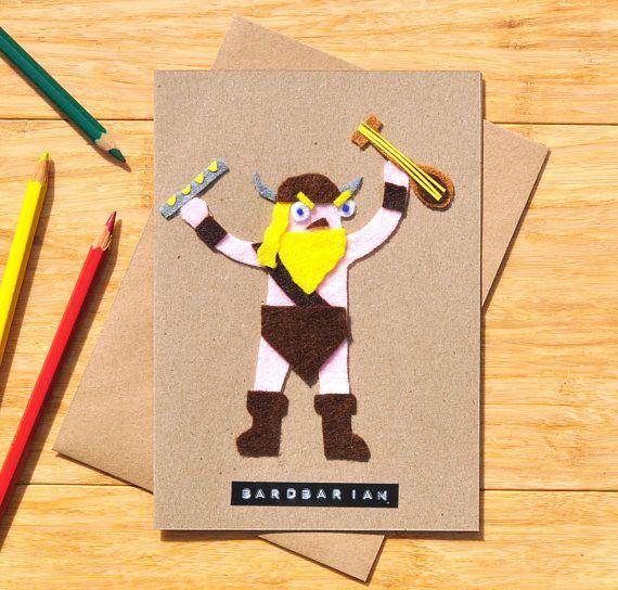 Fantasy Birthday Card The Bardbarian Fearsome Musical Fighting