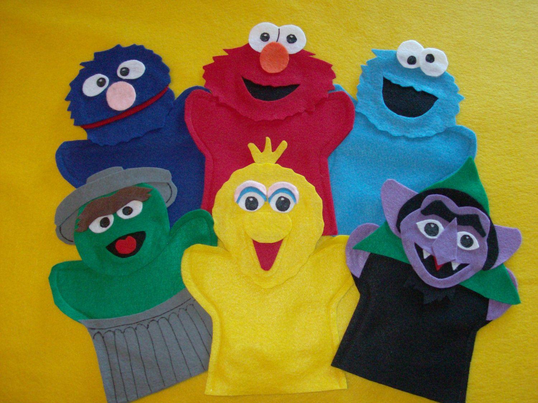 Sesame Street Felt Puppets Elmo Cookie Grover Big Bird