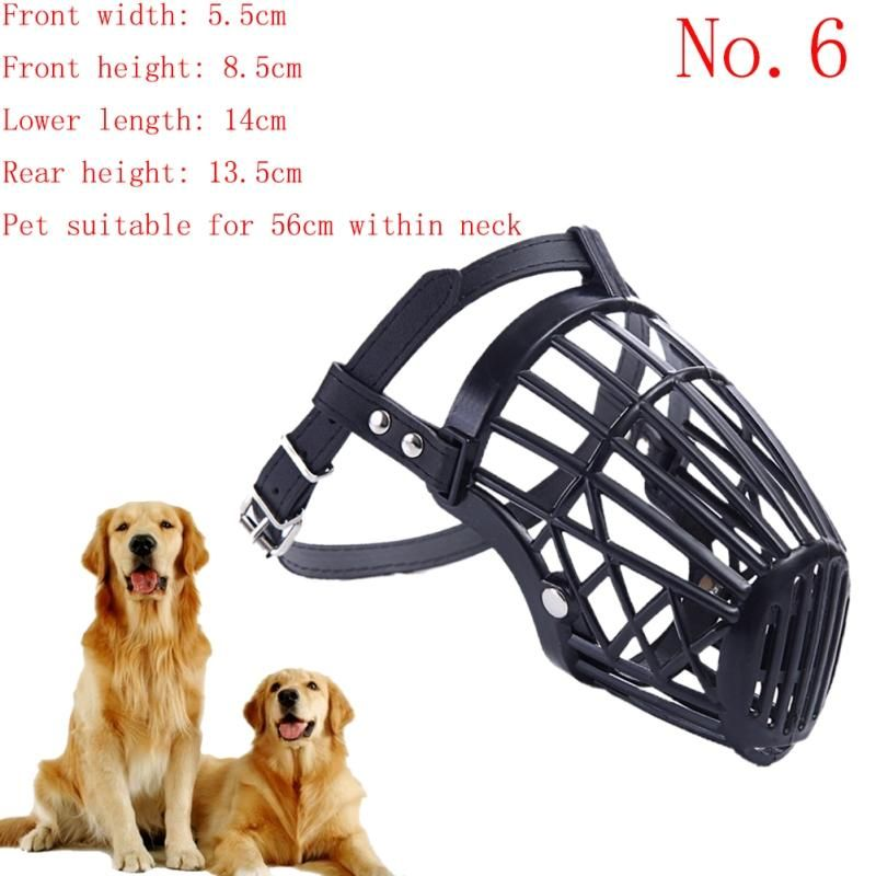 Adjustable Pu Strap Pet Dog Muzzle Basket Cage Safety Mask Cover