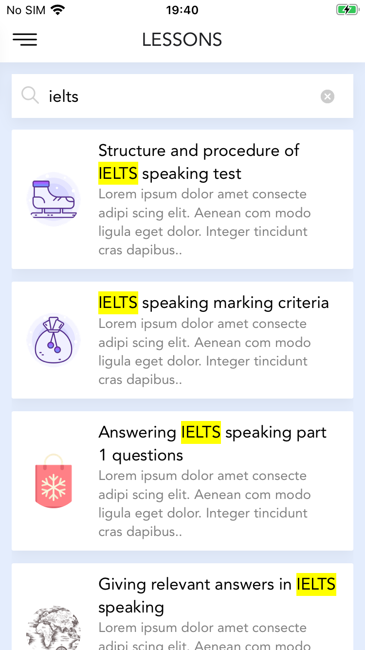 IELTS Forecast React Native Mobile App with Textto