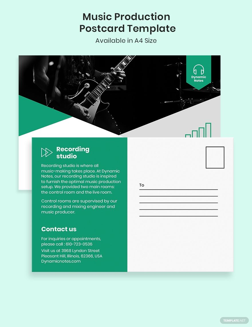 Music Production Postcard Template Free Jpg Illustrator Indesign Word Apple Pages Psd Pdf Publisher Template Net Postcard Template Postcard Template Free Postcard