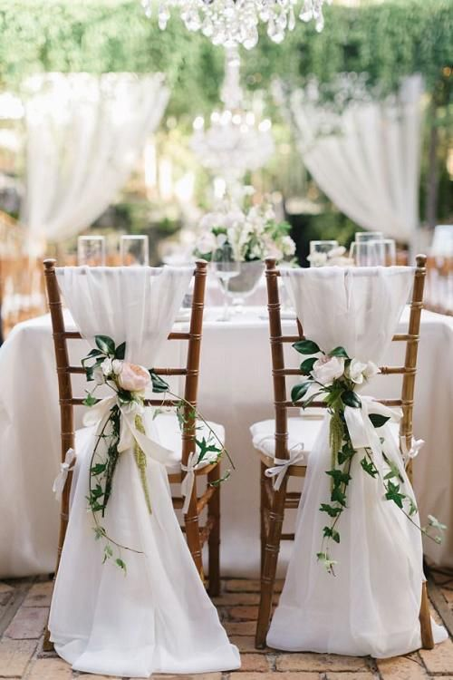 Rustic White Wedding Chair Decor Ideas