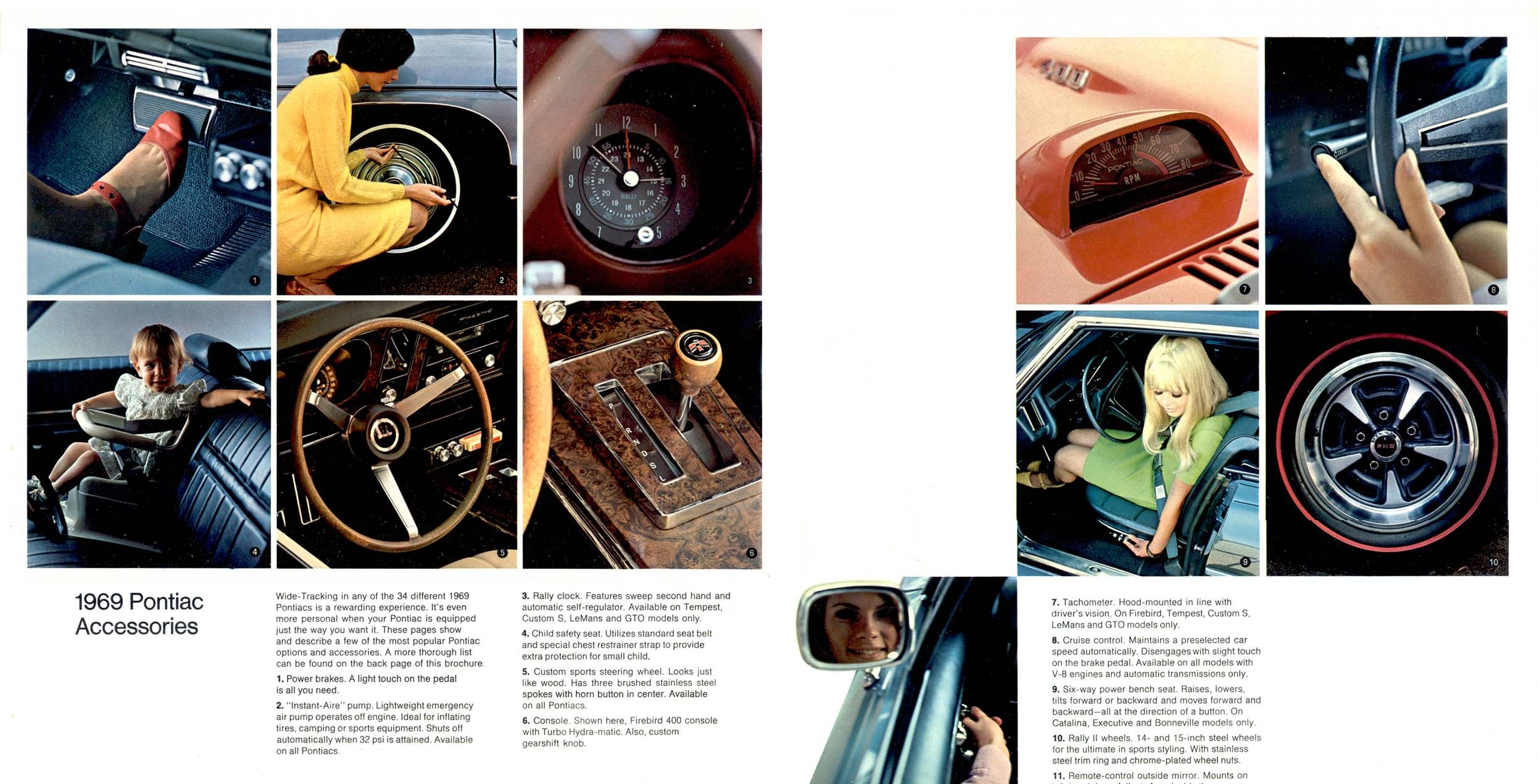 1969 Pontiac Accessories Note the child seat in the front seat