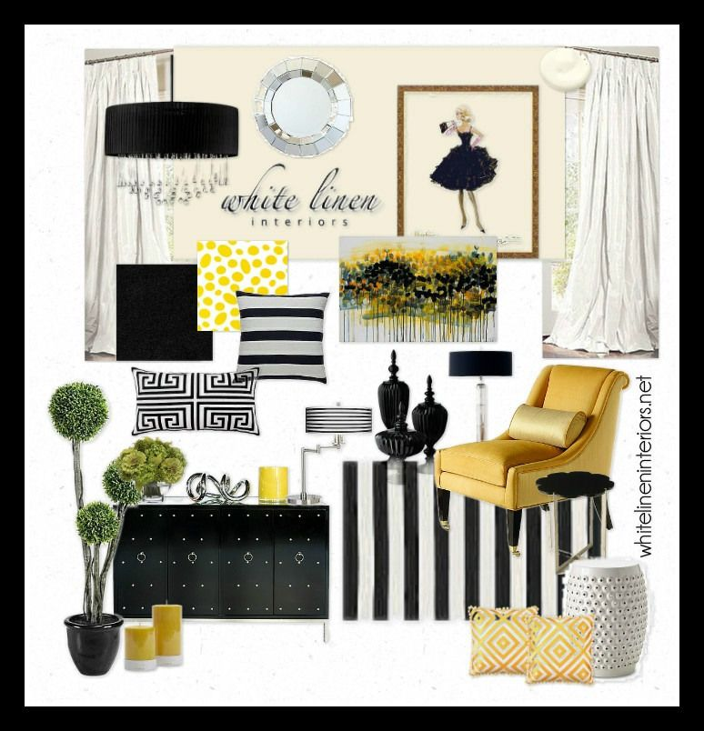striped black and white with pops of yellow home decor ideas e design mood board - Yellow Decor