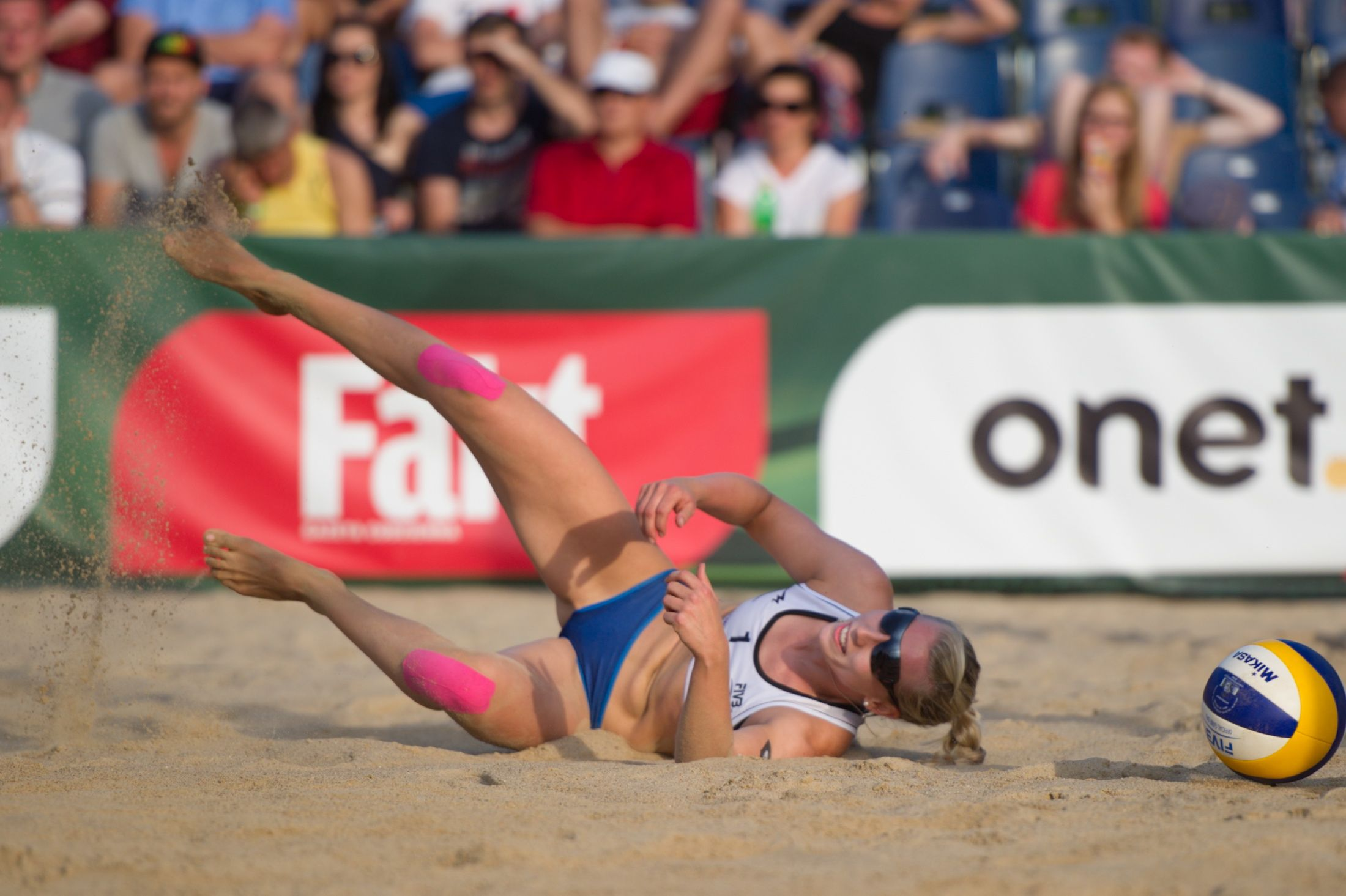 Germany Karla Borger Narrowly Misses The Ball At The Fivb Beach Volleyball World Championships 2013