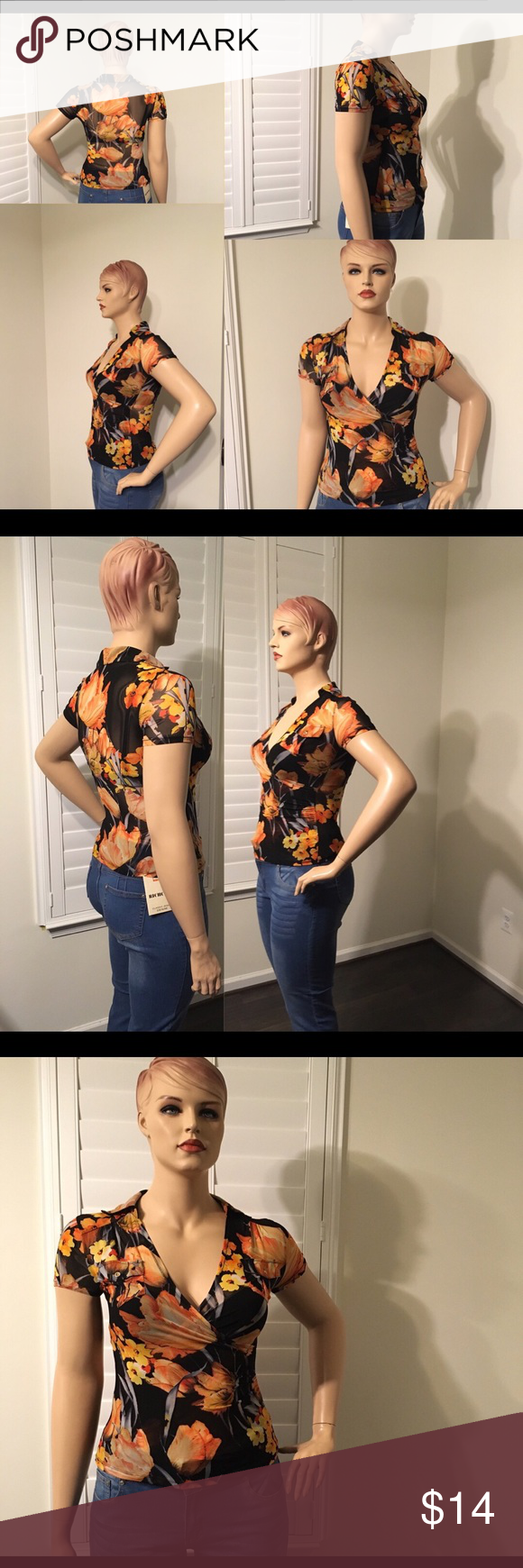 """6b25708397a ⬇️Orange Floral See Through Top Pullover 92% Rayon and 8% Spandex Made in  China Label Reflects Small. Cut Large Listing as size 14 Bust 40-42"""" Waist  ..."""